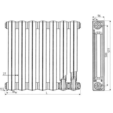 Радиатор чугунный РС-100-1,0 4 секции