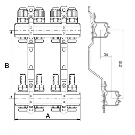"""Коллекторная группа ProFactor 1""""х3/4М (6) PF MB 800.6"""