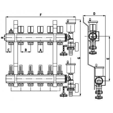 """Коллекторная группа ProFactor 1""""х3/4М (3) PF MB 802.3 схема"""