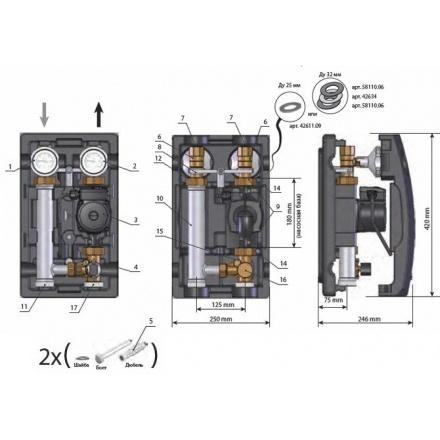 """Насосная группа Meibes MK 1"""" с трехходовым смесителем (c насосом) МЕ 66831.10"""