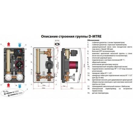 """Насосная группа Meibes D-MTRE 1"""" с поддержанием температуры обратной линии (электронный термостат 20-80°C) 103.20.025.03GFP"""