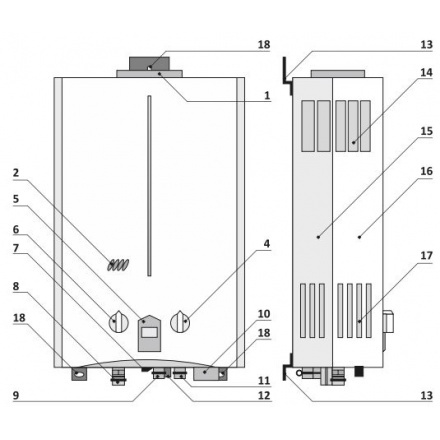 Газовая колонка Rihters 22-11 Steel схема