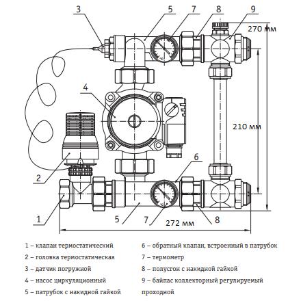 """Насосно-смесительный узел для коллекторных систем 3/4""""х1""""х1"""""""