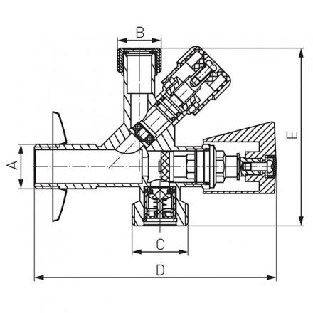 Кран для подключения стиральной или посудомоечной машины Ferro CF5105