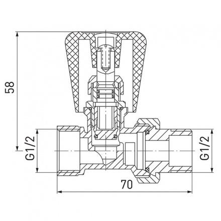 Кран радиаторный прямой запорный с ручкой Ferro ZG2YE