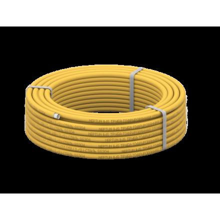 Труба для газа гофрированная из нержавеющей стали Neptun IWS 15А, отожженная в оболочке желтая
