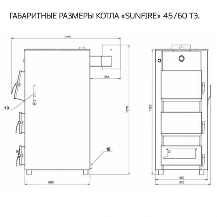 """Котёл отопительный стальной """"SUNFIRE"""" кво 45Т"""