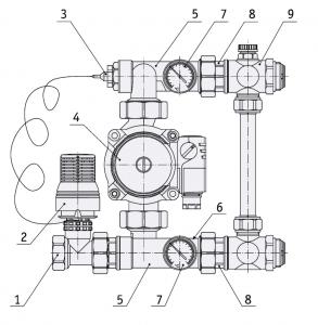 Насосно-смесительный узел для коллекторных систем
