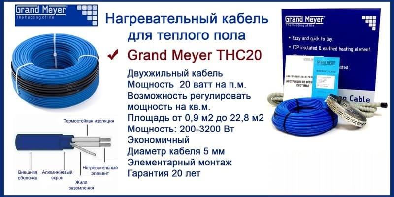 характеристики нагревательного кабеля GRAND MEYER